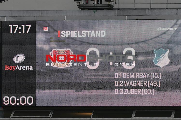 22.10.2016, BAYARENA, Leverkusen, GER, 1.FBL., Bayer 04 Leverkusen vs. TSG 1899 Hoffenheim  <br /> <br /> im Bild / picture shows: <br /> Endstand 0:3 <br /> <br /> <br /> <br /> Foto &copy; nordphoto / Meuter