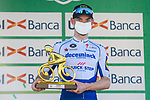 Dries Devenyns (BEL) Deceuninck-Quick Step is awarded the Todisco trophy at the end of the 114th edition of Il Lombardia 2020, running 231km from Bergamo to Como, Italy. 15th August 2020.<br /> Picture: LaPresse/Marco Alpozzi | Cyclefile<br /> <br /> All photos usage must carry mandatory copyright credit (© Cyclefile | LaPresse/Marco Alpozzi)
