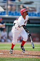 Auburn Doubledays shortstop Jose Sanchez (9) runs to first base during a game against the Batavia Muckdogs on June 17, 2018 at Falcon Park in Auburn, New York.  Auburn defeated Batavia 10-8.  (Mike Janes/Four Seam Images)