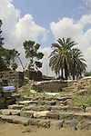 Israel, Sea of Galilee, a paved street and steps from the Byzantine period in Beth Yerah