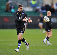 Ollie Devoto of Bath Rugby receives the ball during the pre-match warm-up. Aviva Premiership match, between Bath Rugby and Wasps on February 20, 2016 at the Recreation Ground in Bath, England. Photo by: Patrick Khachfe / Onside Images