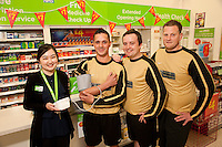 Footballers from The White Swan FC popped into the Pharmacy at ASDA Newark to try out their new free blood pressure testing service. Pictured from left are Pharmacist Ju Li Cheng, Peter Culpin, Alvin Sheldon and Ashley Dearlove