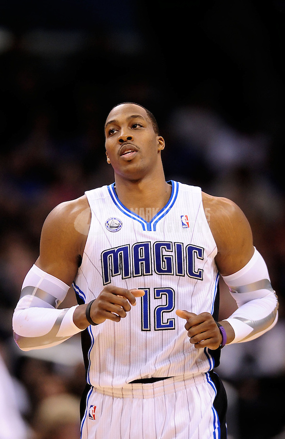 Feb. 11, 2011; Orlando, FL, USA; Orlando Magic center Dwight Howard against the New Orleans Hornets at the Amway Center. The Hornets defeated the Magic 99-93. Mandatory Credit: Mark J. Rebilas-