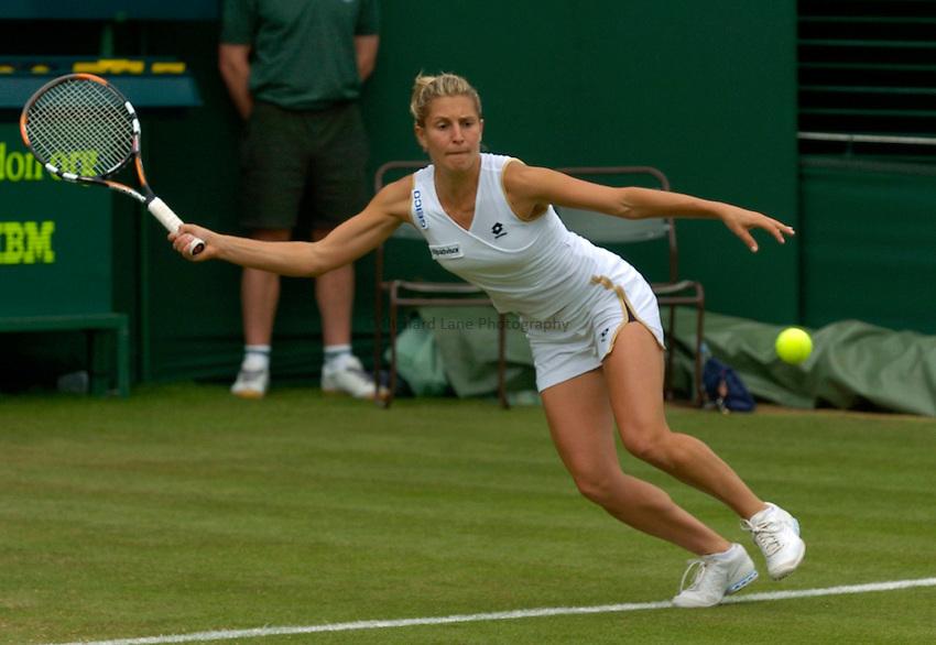 Photo: Richard Lane..Wimbledon Championships. 27/06/2006. .Italy's Maria Elena Camerin returns.