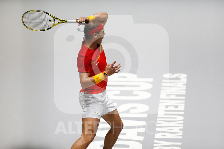 Rafael Nadal of Spain plays a forehand against Rafael Nadal of Spain during Day 2 of the 2019 Davis Cup at La Caja Magica on November 19, 2019 in Madrid, Spain. (ALTERPHOTOS/Manu R.B.)