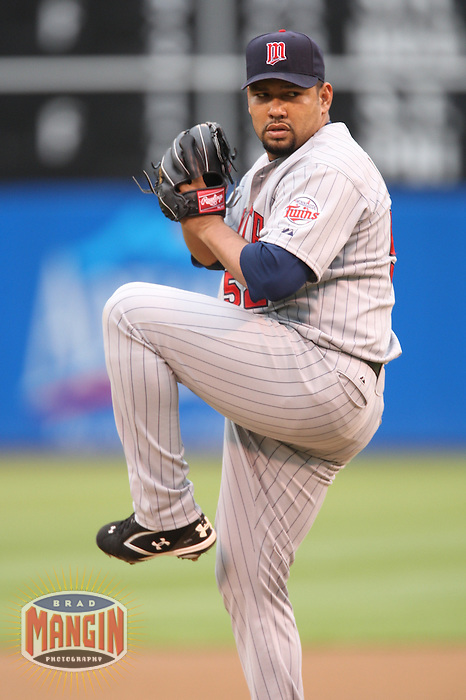 OAKLAND, CA - June 1:  Carlos Silva of the Minnesota Twins pitches during the game against the Oakland Athletics at the McAfee Coliseum in Oakland, California on June 1, 2007.  The Athletics defeated the Twins 1-0.  Photo by Brad Mangin