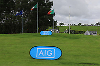 AIG signage during the Final of the Junior Cup in the AIG Cups & Shields Connacht Finals 2019 in Westport Golf Club, Westport, Co. Mayo on Thursday 8th August 2019.<br /> <br /> Picture:  Thos Caffrey / www.golffile.ie<br /> <br /> All photos usage must carry mandatory copyright credit (© Golffile | Thos Caffrey)