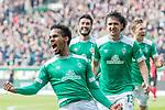 13.04.2019, Weser Stadion, Bremen, GER, 1.FBL, Werder Bremen vs SC Freiburg, <br /> <br /> DFL REGULATIONS PROHIBIT ANY USE OF PHOTOGRAPHS AS IMAGE SEQUENCES AND/OR QUASI-VIDEO.<br /> <br />  im Bild<br /> <br /> 2:0 kopfball Theodor Gebre Selassie (Werder Bremen #23) <br /> <br /> jubel <br /> Milos Veljkovic (Werder Bremen #13)<br /> <br /> Foto &copy; nordphoto / Kokenge