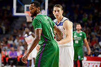 Real Madrid's Jaycee Carroll and Unicaja Malaga's Kyle Fogg during semi finals of playoff Liga Endesa match between Real Madrid and Unicaja Malaga at Wizink Center in Madrid, June 02, 2017. Spain.<br /> (ALTERPHOTOS/BorjaB.Hojas) /NortePhoto.com