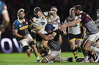 Jimmy Gopperth of Wasps takes on the Harlequins defence. Aviva Premiership match, between Harlequins and Wasps on April 28, 2017 at the Twickenham Stoop in London, England. Photo by: Patrick Khachfe / JMP