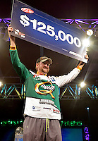 NWA Democrat-Gazette/BEN GOFF -- 04/26/15 Matt Arey, FLW pro from Shelby, N.C., claims his prize as the winner of the Walmart FLW Tour at Beaver Lake at the John Q. Hammons Center in Rogers on Sunday Apr. 26, 2015. Arey won the event for the second year in a row with a four-day total of 55 lbs. 6 oz.