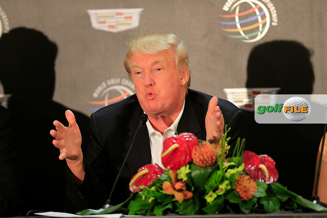 Donald Trump during the press conference at the WGC Cadillac Championship, Blue Monster, Trump National Doral, Miami, Florida,USA.<br /> Picture: Fran Caffrey www.golffile.ie