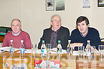 CHAIRING: Chairing the AGM at Austin Stacks GAA Club, Connolly Park, Tralee, on Sunday morning, l-r: Martin Collins (secretary), Ger Carmody (chairman) and Pat Joe Quinn (vice chairman).