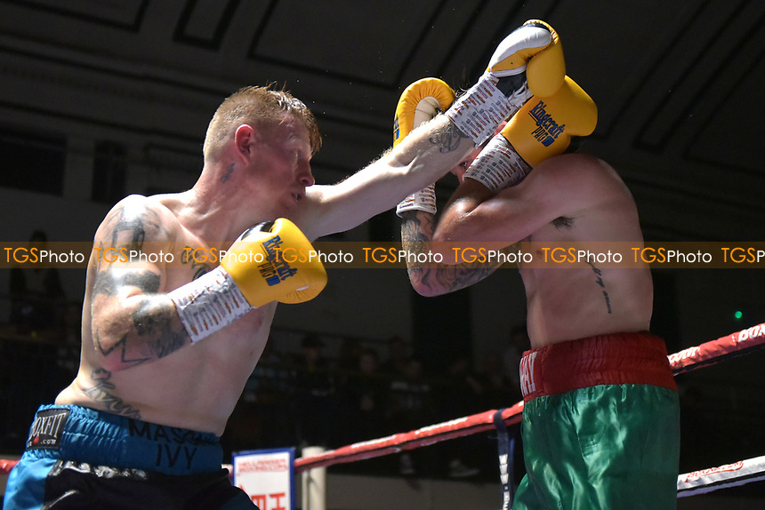 Jamie Carley (black/blue shorts) defeats Chris Adaway during a Boxing Show at York Hall on 6th October 2018