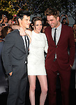 "LOS ANGELES, CA. - June 24: Taylor Lautner, Kristen Stewart and Robert Pattinson arrive to the premiere of ""The Twilight Saga: Eclipse"" during the 2010 Los Angeles Film Festival at Nokia Theatre L.A. Live on June 24, 2010 in Los Angeles, California."