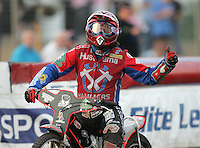Gary Havelock of Arena Essex celebrates a heat victory - Arena Essex Hammers vs Belle Vue Aces at The Arena Essex Raceway, Lakeside - 13/07/05 - MANDATORY CREDIT: Rob Newell/TGSPHOTO