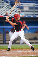 Batavia Muckdogs left fielder Walker Olis (3) at bat during a game against the West Virginia Black Bears on August 21, 2016 at Dwyer Stadium in Batavia, New York.  West Virginia defeated Batavia 6-5. (Mike Janes/Four Seam Images)