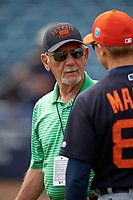 Detroit Tigers Jim Leyland talks with coach Matt Martin (88) before a Spring Training game against the New York Yankees on March 2, 2016 at George M. Steinbrenner Field in Tampa, Florida.  New York defeated Detroit 10-9.  (Mike Janes/Four Seam Images)