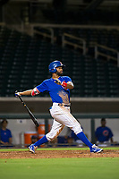 AZL Cubs right fielder Jonathan Sierra (22) hits a double during a game against the AZL Brewers on August 6, 2017 at Sloan Park in Mesa, Arizona. AZL Cubs defeated the AZL Brewers 8-7. (Zachary Lucy/Four Seam Images)