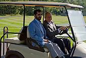 United States President George W. Bush welcomes the Prime minster of United Arab and ruler of Dubai Sheikh Mohammed bin Rashid Al Maktoum to Camp David, the Presidential Retreat near Thurmont, Maryland on August 3, 2008. <br /> Credit: Kristoffer Tripplaar / Pool via CNP