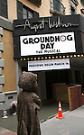 """Mr. Groundhog visits the """"Groundhog Day'' opening day box office at The August Wilson Theatre on February 2, 2017 in New York City."""