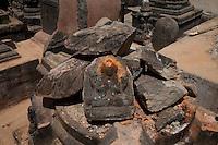 A destroyed artefact at the Shoyembho temple, just outside Kathmandu, Nepal
