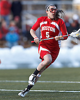 Boston University attacker Elizabeth Morse (5)..Boston College (white) defeated Boston University (red), 12-9, on the Newton Campus Lacrosse Field at Boston College, on March 20, 2013.