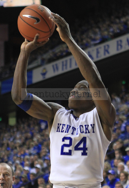 Freshman guard Eric Bledsoe shoots a three-pointer during the first half of the UK men's basketball game against Alabama at Rupp Arena on Tuesday, Feb. 9, 2010. Photo by Adam Wolffbrandt | Staff