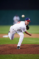 Auburn Doubledays relief pitcher Nick Conner (26) delivers a pitch during a game against the Williamsport Crosscutters on June 25, 2016 at Falcon Park in Auburn, New York.  Auburn defeated Williamsport 5-4.  (Mike Janes/Four Seam Images)