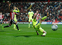 Andreas Weimann of Derby County misses the cross during the Sky Bet Championship match between Brentford and Derby County at Griffin Park, London, England on 26 September 2017. Photo by Carlton Myrie / PRiME Media Images.