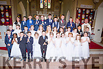 Pupils from the Nagle/Rice NS Milltown with Fr Kevin O'Sullivan and their teachers Maria Daly and Neil O'Leary at their First Holy Communion in the Sacred Heart Church Milltown on Saturday