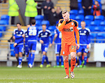 Ipswich's Freddie Sears looks on dejected after Cardiff?s Bruno Ecuele Manga scores his sides opening goal during the Sky Bet Championship League match at The Cardiff City Stadium.  Photo credit should read: David Klein/Sportimage