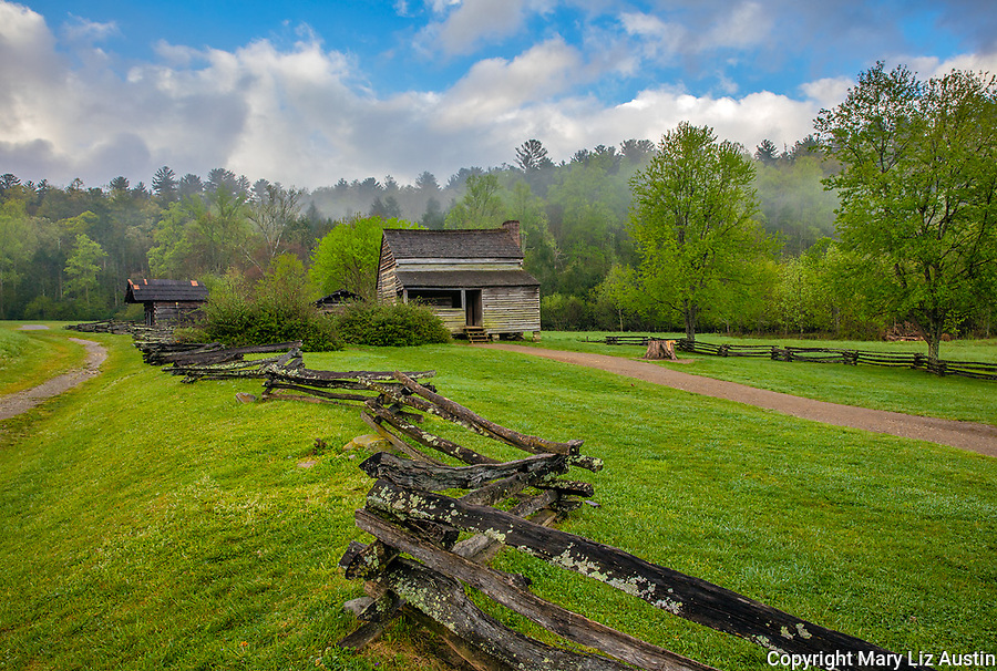 Great Smoky Mountains National Park, TN/NC: The Dan Lawson Place with split rail fence in early spring, Cades Cove