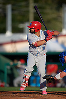 Clearwater Threshers Colby Fitch (10) at bat during a Florida State League game against the Dunedin Blue Jays on May 11, 2019 at Jack Russell Memorial Stadium in Clearwater, Florida.  Clearwater defeated Dunedin 9-3.  (Mike Janes/Four Seam Images)