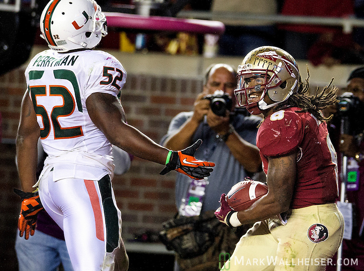 Devonta Freeman taunts Miami linebacker Denzel Perryman in the endzone after one of his touchdowns as the #3 ranked Florida State Seminoles rolled over the #7 ranked Miami Hurricanes 41-14 in Tallahassee, FL November 3, 2013.