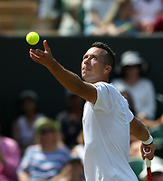 Philipp Kohlschreiber (GER) during his defeat by Kevin Anderson (RSA) in their Gentleman's Singles Third Round match<br /> <br /> Photographer Rob Newell/CameraSport<br /> <br /> Wimbledon Lawn Tennis Championships - Day 5 - Friday 6th July 2018 -  All England Lawn Tennis and Croquet Club - Wimbledon - London - England<br /> <br /> World Copyright &not;&copy; 2017 CameraSport. All rights reserved. 43 Linden Ave. Countesthorpe. Leicester. England. LE8 5PG - Tel: +44 (0) 116 277 4147 - admin@camerasport.com - www.camerasport.com