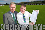 John Delaney FAI and Aidan O'Connor chairman of Listowel Celtic with the congratulations letter from Alex Ferguson.