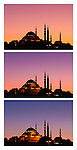 Suleymaniye Sundown Triptych 03 - Suleymaniye Mosque and Rustem Pasa Mosque at sundown, from Eminonu, Istanbul, Turkey. A combination of three shots, each taken five minutes apart at sundown.