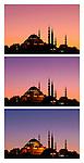 Suleymaniye Sundown Triptych 03 - Suleymaniye Mosque and Rustem Pasa Mosque at sundown, from Eminonu, Istanbul, Turkey. A combination of three shots, each taken five minutes apart at sundown.