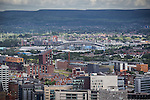 © Joel Goodman - 07973 332324 . 24 June 2013 . Orchid Suite , Beetham Tower , Manchester , UK . View of Manchester City 's Etihad Stadium from the flat . Former triplex apartment home of Phil and Julie Neville , which is up for rent and thought to be the most expensive in Manchester . Photo credit : Joel Goodman