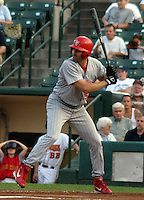 August 21, 2003:  Brian Simmons of the Scranton Wilkes-Barre Red Barons, Class-AAA affiliate of the Philadelphia Phillies, during a International League game at Frontier Field in Rochester, NY.  Photo by:  Mike Janes/Four Seam Images
