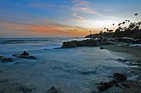 Sunset Across the Rocky Laguna Beach California Coastline