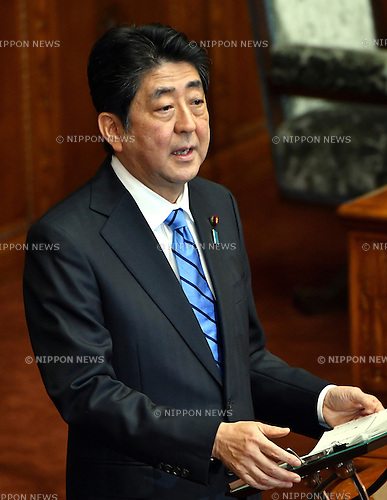 January 24, 2017, Tokyo, Japan - Japan's  Prime Minister Shinzo Abe answers to Renho (single name), leader of the opposition Democratic Party, during a question-and-answer session in the Diet's upper chamber in Tokyo on Tuesday, January 24, 2017. The ordinary session of the Diet started for 150 days on Monday.  (Photo by Natsuki Sakai/AFLO) AYF -mis-