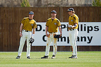 (L-R) Ryan Gebhart #37, Brannon Champagne #6 and Jonah Schmidt #25 of the Missouri Tigers huddle up during a pitching change against the Charlotte 49ers at Robert and Mariam Hayes Stadium on February 27, 2011 in Charlotte, North Carolina.  Photo by Brian Westerholt / Four Seam Images