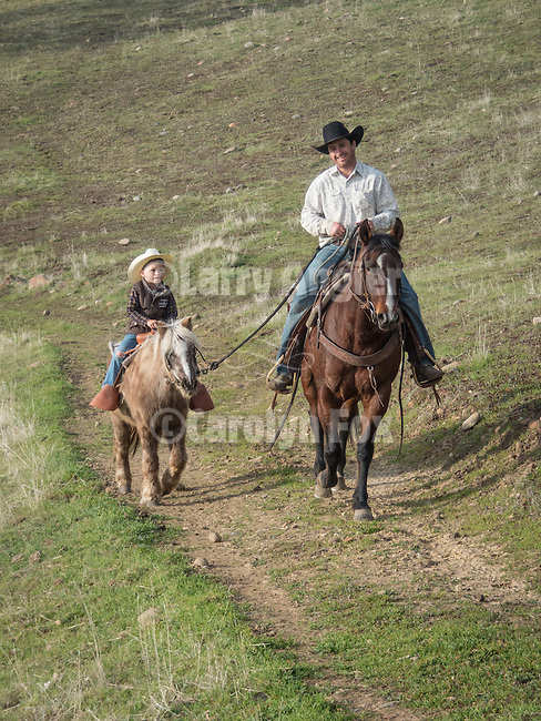 The  Lopes cattle outfit brands and doctors their calves at the Church Bell Hill ranch, Amador County, California, in winter.<br /> <br /> Mark Lopes leads Chase Dugo riding his pony Smokey.