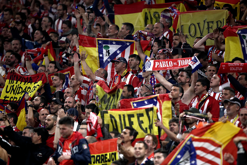 Club Atletico de Madrid's fans react during the UEFA Europa League final football match between Olympique de Marseille and Club Atletico de Madrid at the Groupama Stadium in Decines-Charpieu, near Lyon, France, May 16, 2018.<br /> UPDATE IMAGES PRESS/Isabella Bonotto
