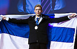 Lille - France- 05 October 2014 --  Euroskills 2014 competition, closing ceremony and medals. -- Team Finland - Mikko Pynnönen, hopea, silver medalist, kokki / Cooking and silver as well in team challenge cook and serve -- PHOTO: SkillsFinland / Juha ROININEN - EUP-IMAGES