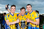 Beaufort Sean Kelliher, James O'reilly and Ronan Murphy celebrate after defeating Glenbeigh/Glencar in the Mid Kerry final in Killorglin on Sunday