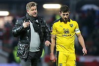 Oxford United Manager, Karl Robinson, walks off the pitch at half-time with his captain, John Mousinho during Brentford vs Oxford United, Emirates FA Cup Football at Griffin Park on 5th January 2019