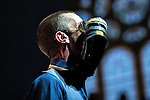 "© Joel Goodman - 07973 332324 . 14/05/2016 . Manchester , UK . RICHARD ASHCROFT , struck in the face by a gas mask he's wearing around his neck , performs live at the Albert Hall in Manchester , in the first of two gigs (the other at the Roundhouse in Camden in London ) ahead of the release of his first new album in six years , entitled "" These People "" . Photo credit : Joel Goodman"